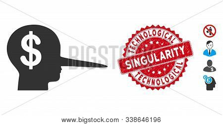 Vector Financial Scammer Icon And Grunge Round Stamp Seal With Technological Singularity Caption. Fl