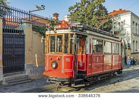 Taksim,istanbul,turkey-december 10,2019.the Istanbul Nostalgic Tramways Are Two Heritage Tramlines I