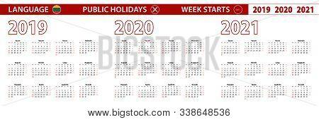 2019, 2020, 2021 Year Vector Calendar In Lithuanian Language, Week Starts On Sunday. Vector Calendar
