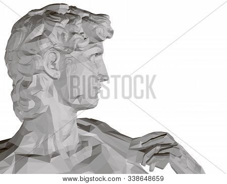 Background With A Polygonal Statue Of David. Side View. Isolated On White Background Statue Of The H