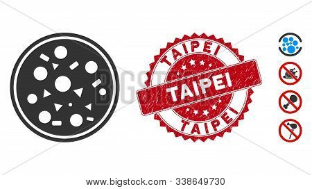 Vector Entire Pizza Icon And Rubber Round Stamp Seal With Taipei Text. Flat Entire Pizza Icon Is Iso