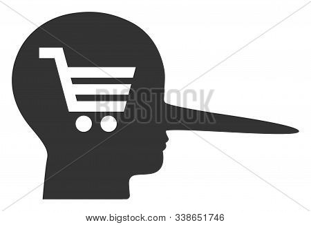 Shopping Scammer Raster Icon. Flat Shopping Scammer Pictogram Is Isolated On A White Background.