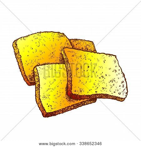 Fried Cheese In Batter Hot Meal Color Vector. Fry Cheese Snack Food. National Asian Nutrition Engrav