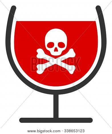 Poison Drink Glass Raster Icon. Flat Poison Drink Glass Symbol Is Isolated On A White Background.