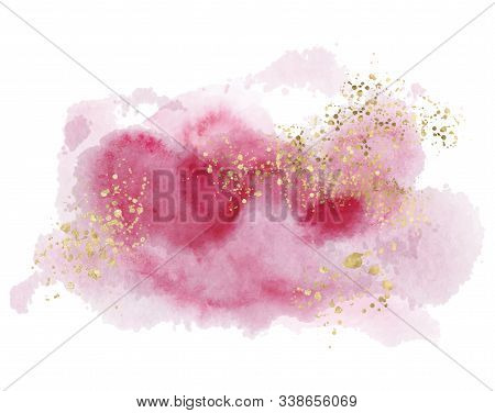 Watercolor Abstract Splash Color Painting Texture. Pink Background Decor