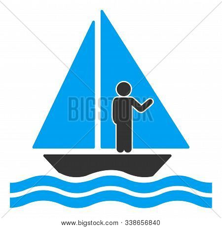 Aboard Yacht Raster Icon. Flat Aboard Yacht Symbol Is Isolated On A White Background.