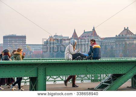 Budapest, Hungary - 10.11.2018: People On The Green Liberty Bridge In Budapest