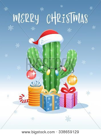 Merry Christmas. Greeting Card With A Funny Cactus In The Form Of A Christmas Tree. Santa Claus Hat,