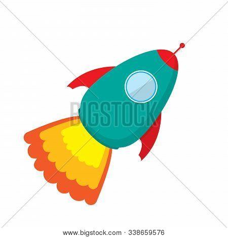 Vector Cute Rocket Ship Icon. Color Rocket Launch Isolated. Rocket Icon In Flat Design. Rocket Launc