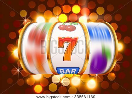 Golden Slot Machine Wins The Jackpot. 777 Big Win Casino Concept.