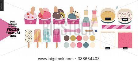Frozen Yoghurt Bar -small Business Graphics -product Range -modern Flat Vector Concept Illustrations