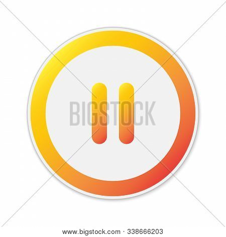 Vector Pause Button Isolated. Color Pause Icon. Round Button. Paper Sticker With Shadow.