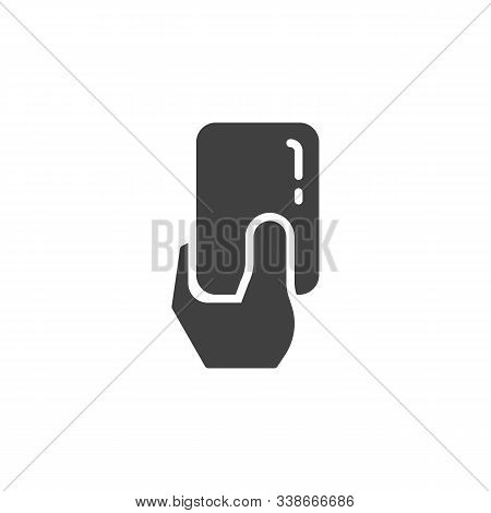 Soccer Referees Hand With Foul Card Vector Icon. Filled Flat Sign For Mobile Concept And Web Design.