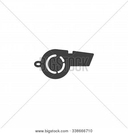Referee Whistle Vector Icon. Filled Flat Sign For Mobile Concept And Web Design. Whistle Glyph Icon.