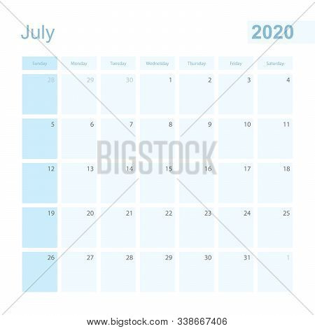2020 July Wall Planner In Blue Color, Week Starts On Sunday. Calendar For July 2020 With Day Of Prev