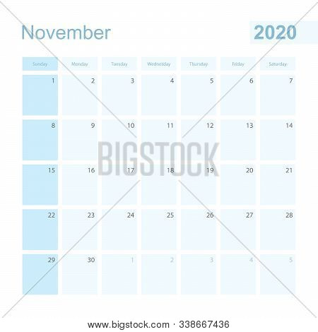 2020 November Wall Planner In Blue Color, Week Starts On Sunday. Calendar For November 2020 With Day