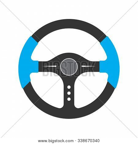 Steering Wheel Icon - Vector. Car Steering Wheel In Flat Style. Steering Wheel Isolated.