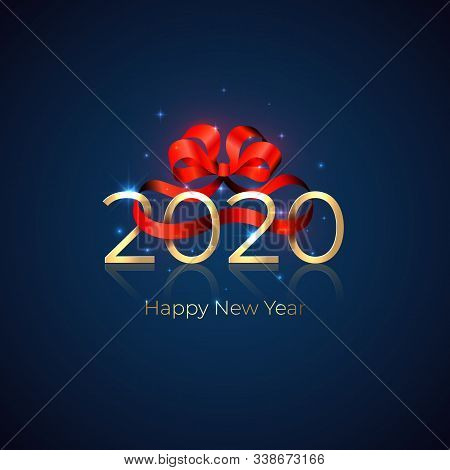 2020 New Year. Shiny Golden 2020 With Red Ribbon Bow On Blue Background. New Year Design For Invitat