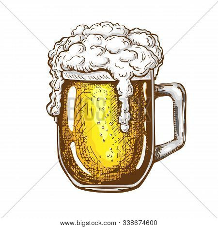 Vector Hand Drawn Traditional Beer Glass Full Of Wheat Beer With Foam. Beautiful Vintage Etched Beer