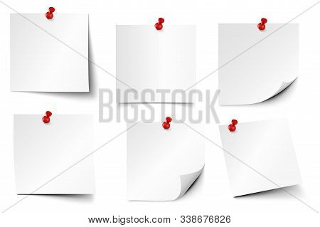Pinned Paper Notes. Sticker Papers, Note On Pin And Notes Board Stickers Realistic Vector Set. Notep