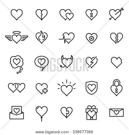 Heart Line Icons. Styling Heart Decoration Elements, Love And Friendship Symbols And Outline Lovely