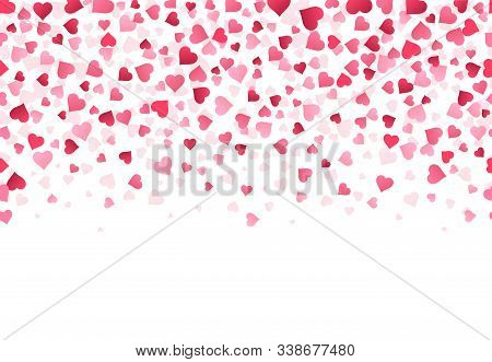 Love Heart Confetti. Wedding Anniversary And Valentines Day Greeting Card Design Pattern, Falling Lo