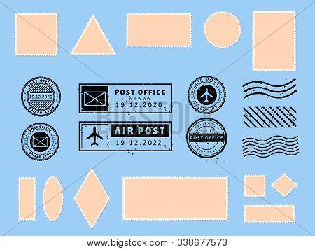 Postcard Stamp. Paper Postcards And Air Boarder Stamp Frames, Passport Visa International Arrived St