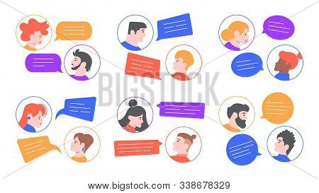 Speaking People. Men And Women Profile Avatars Conversation, Young Couple Speaking, Chatting Togethe
