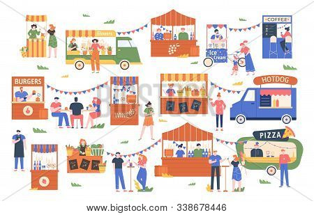 Street Food Marketplace. Outdoor Farmers Market, Characters Buy And Sell Vegetables, Bread, Flowers