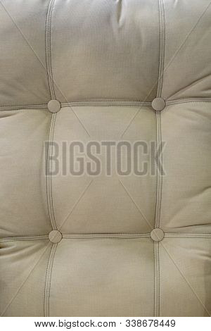 Beige Upholstery Backrest.  Upholstery Of Stylish Furniture In A Furniture Store.