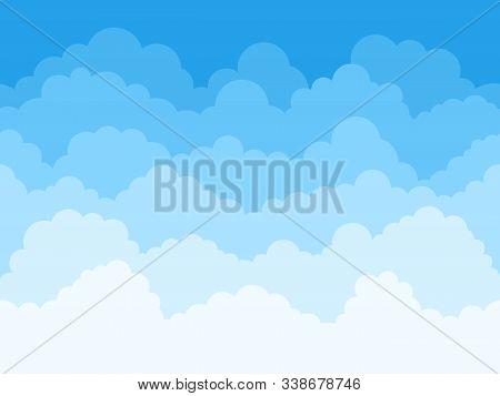 Cartoon Sky Clouds Background. Fluffy Clouds In Blue Sky, Cloudscape Scene, Cloudy Weather Panorama