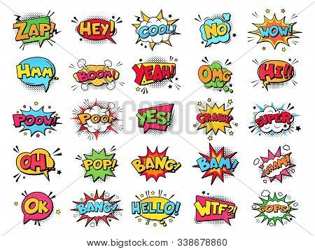 Comic Book Bubbles. Cartoon Explosions Funny Comical Speech Clouds, Comics Words, Thinking Bubbles A