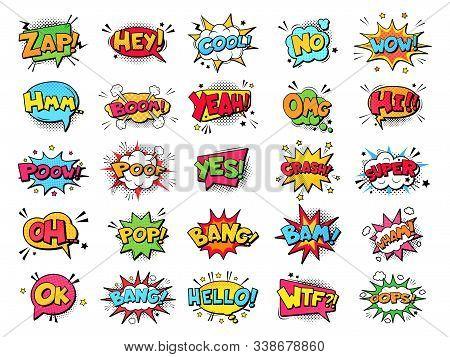 Comic Book Bubbles. Cartoon Explosions Funny Comical Speech Clouds, Comics Words, Thinking Bubbles A