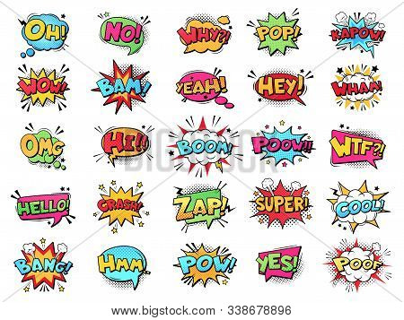 Comic Speech Bubble. Cartoon Comic Book Text Clouds. Comic Pop Art Book Pow, Oops, Wow, Boom Exclama