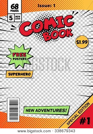 Comic Book Cover Page Template. Cartoon Pop Art Comic Book Title Poster, Superhero Comic Book Title