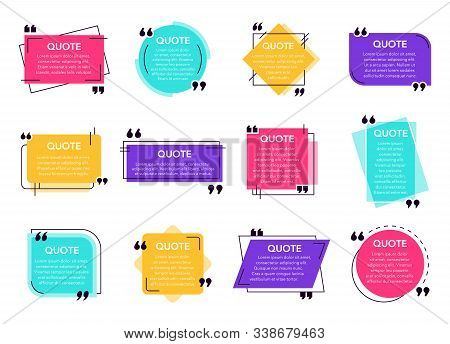 Quote Text Box. Cited Box Frame Label, Social Network Quotes Dialogue Bubble, Remark Text Frames And
