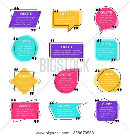 Texting Quotes Frames. Text Box Template, Quote Modern Citation Speech Bubble And Social Network Quo