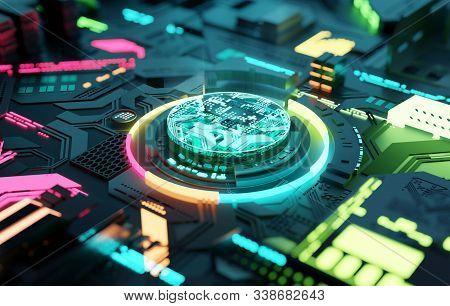 Multicoloured Futuristic Cpu And Processor, Quantum And Machine Learning Concept. 3d Illustration Co