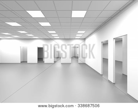 An Empty Open Space Office Room With White Walls And Blank Doorways, Abstract Interior Background, 3