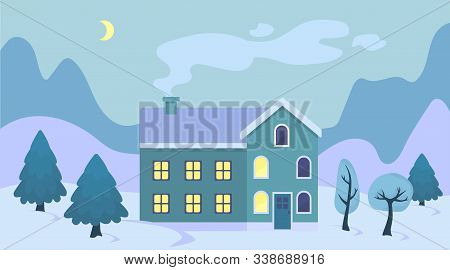 Cute Cartoon Christmas House In The Snow Landscape Illustration. Winter Scenery Retro Town Exterior