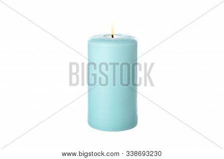 Blue Burning Candle Isolated On White Background
