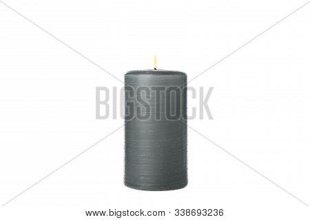 Black Burning Candle Isolated On White Background