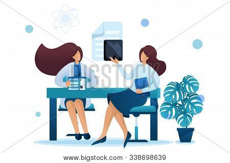 Young Woman Doctor Advises The Patient. Health Care Concept. Flat 2d Character. Concept For Web Desi
