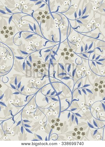 Vintage Floral Seamless Pattern On Light Background. Middle Ages Style With Pastel Colors. Vector Il
