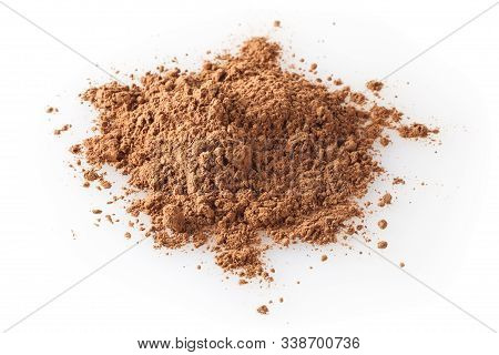Heap Of Cacao Powder Isolated On White Background
