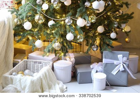 Merry Christmas Card With Christmas Tree Toys Decoration Presents Close Up Photo On In Pink Room Int