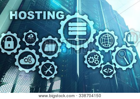 Web Hosting Technology Internet And Networking Concept. On Server Room Background. Virual Screen.