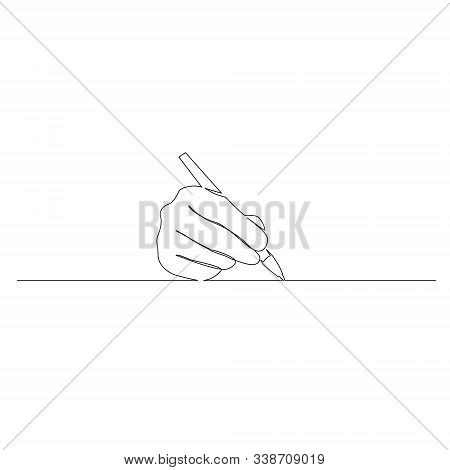 Continuous One Line Hand Write With A Pen. Vector Illustration.