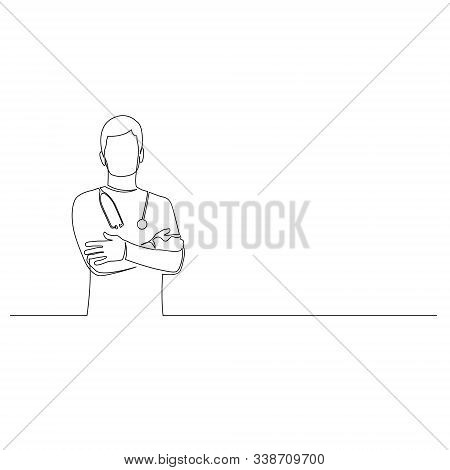 Continuous One Line Man Doctor With Phonendoscope Stand With Arms Crossed. Vector Illustration.