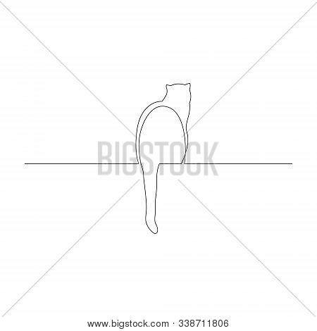 Continuous One Line Cat Sit With Its Tail Dangling On A Window Sill Or Parapet. Vector Illustration.